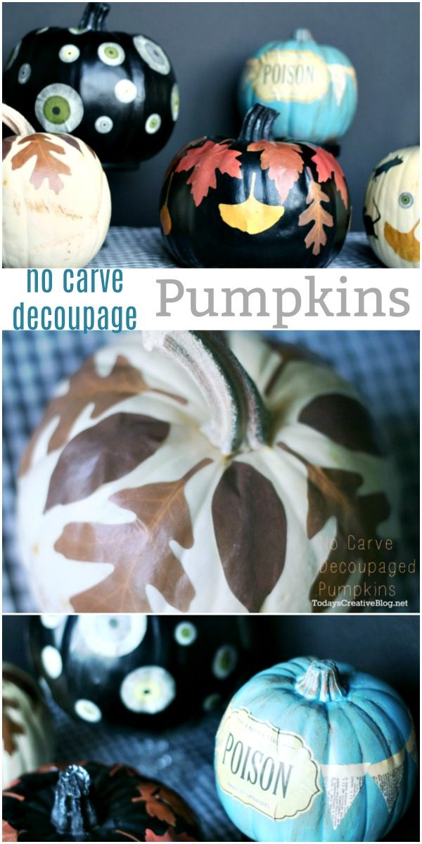 photo collage with a variety of no carve decoupaged pumpkins for Halloween and fall.