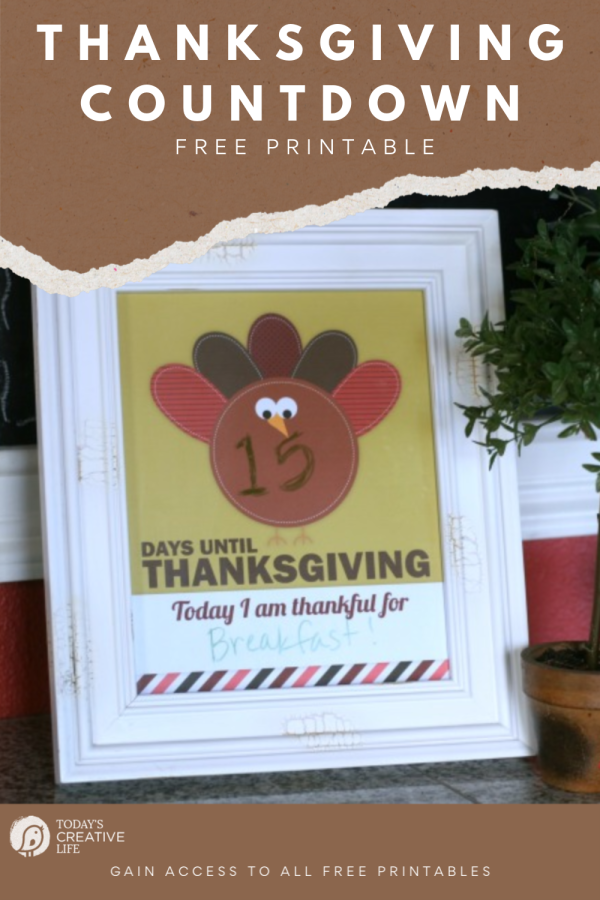 Thanksgiving countdown printable in a frame.
