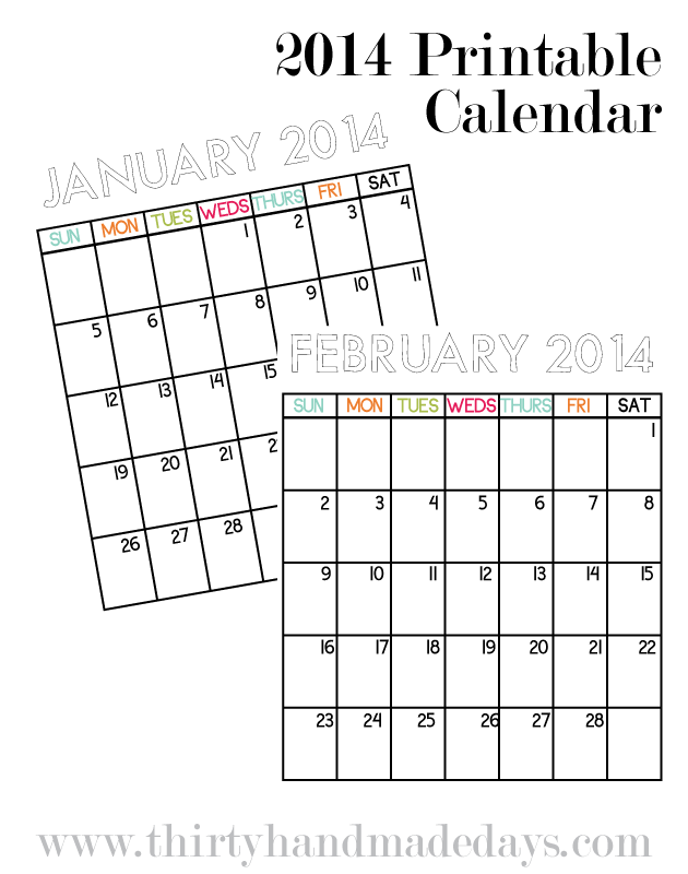 2014 blank calendar