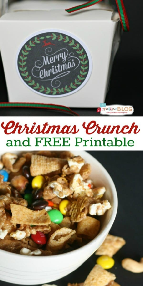 This Christmas Crunch Recipe is a sweet and salty snack mix made with bugles, m&m's and more, all covered with a caramel mixture. Find the recipe on TodaysCreativeLife.com