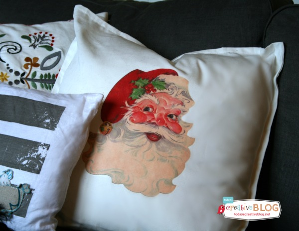 DIY Iron On Santa Pillow | TodaysCreativeblog.net