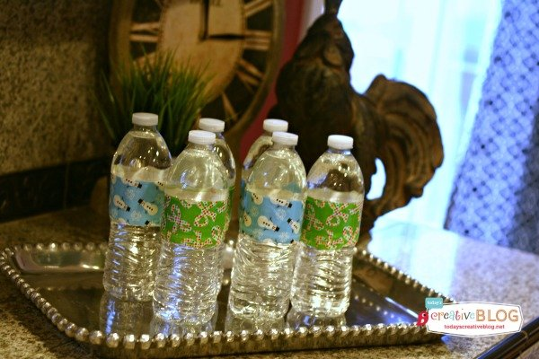 Easy Holiday Entertaining | Duck Taped Wrapped Water bottles | TodaysCreativeblog.net