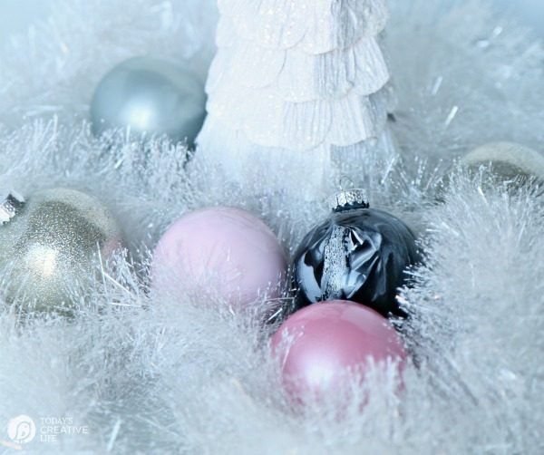 How to Make Glitter & Painted Glass Ornaments - Supplies needed | Step by step instructions on TodaysCreativeLife.com