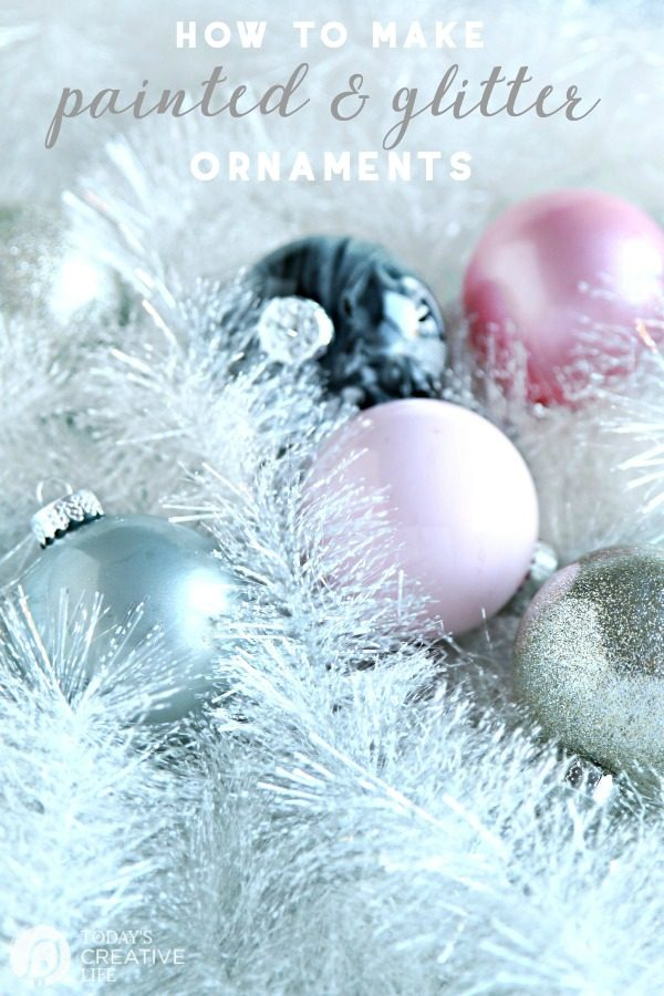 How to Make Glitter & Painted Glass Ornaments | Easy DIY Christmas Craft | Follow this tutorial for step by step instructions. TodaysCreativeLife.com