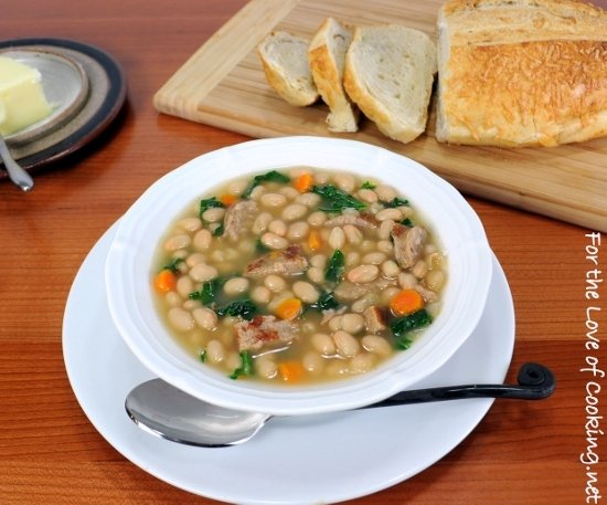 http://www.fortheloveofcooking.net/2012/10/white-bean-soup-with-kale-and-turkey-italian-sausage.html