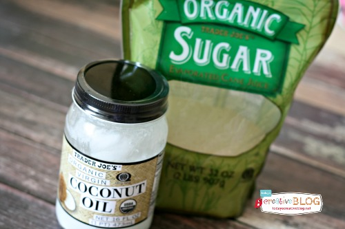 Ingredients for making sugar body scrub