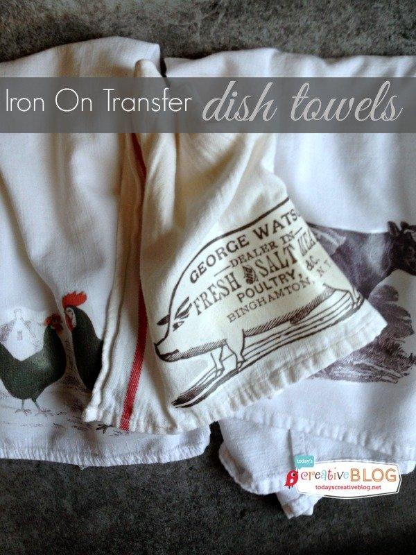 55 Homemade Holiday Gift Ideas | Iron on Transfer dish towels | TodaysCreativeBlog.net