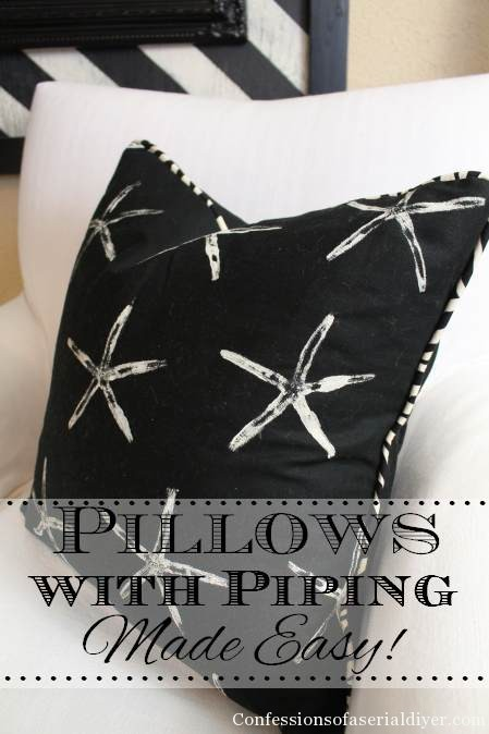 Featured on TodaysCreativeBlog.net | http://www.confessionsofaserialdiyer.com/diy-starfish-stamped-pillows-with-piping/