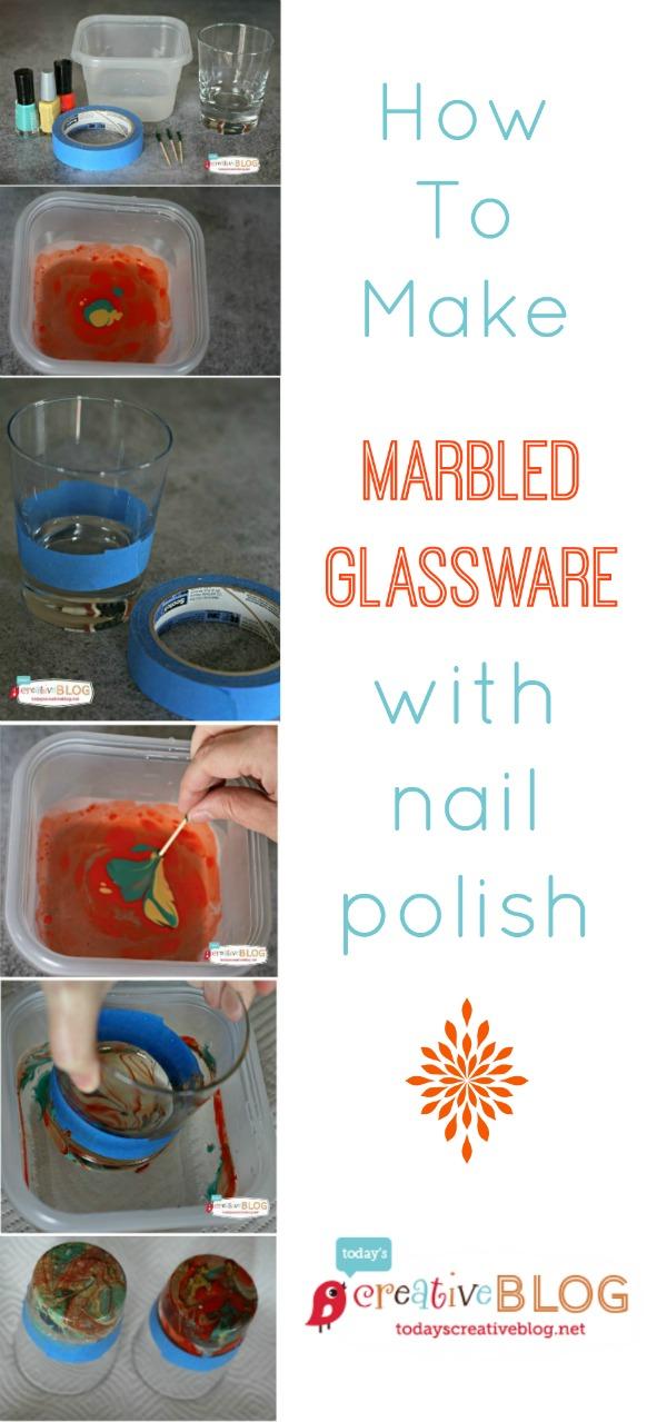 DIY Marbled Glassware Using Nail Polish | TodaysCreativeBlog.net
