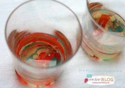 DIY Marbled Glassware Using Nail Polish | TodaysCreativeBlog.net