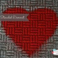 Heart Stenciled Doormat