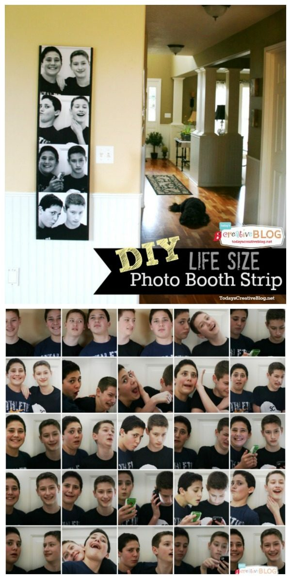 Make photo booth photo strip DIY | How to make a life size photo strip for interesting wall art. See tutorial on TodaysCreativeLife.com