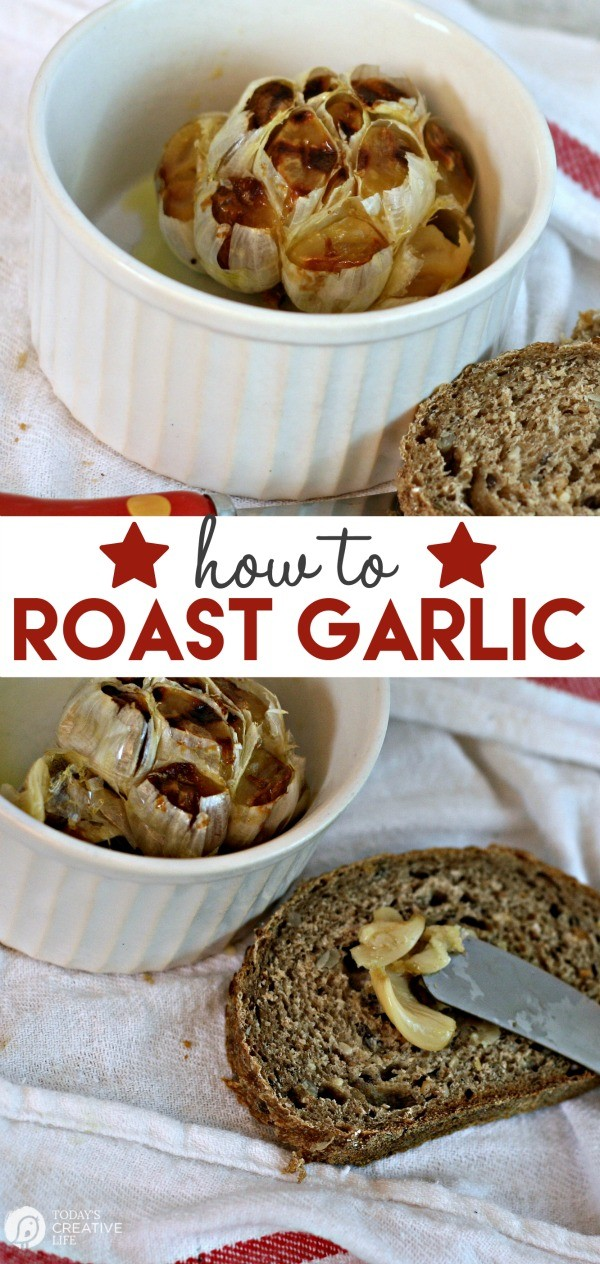 How To Roast Garlic | Easy appetizer idea! Everyone loves garlic! Roasted garlic smeared across bread makes the best party food. See how on TodaysCreativeLife.com