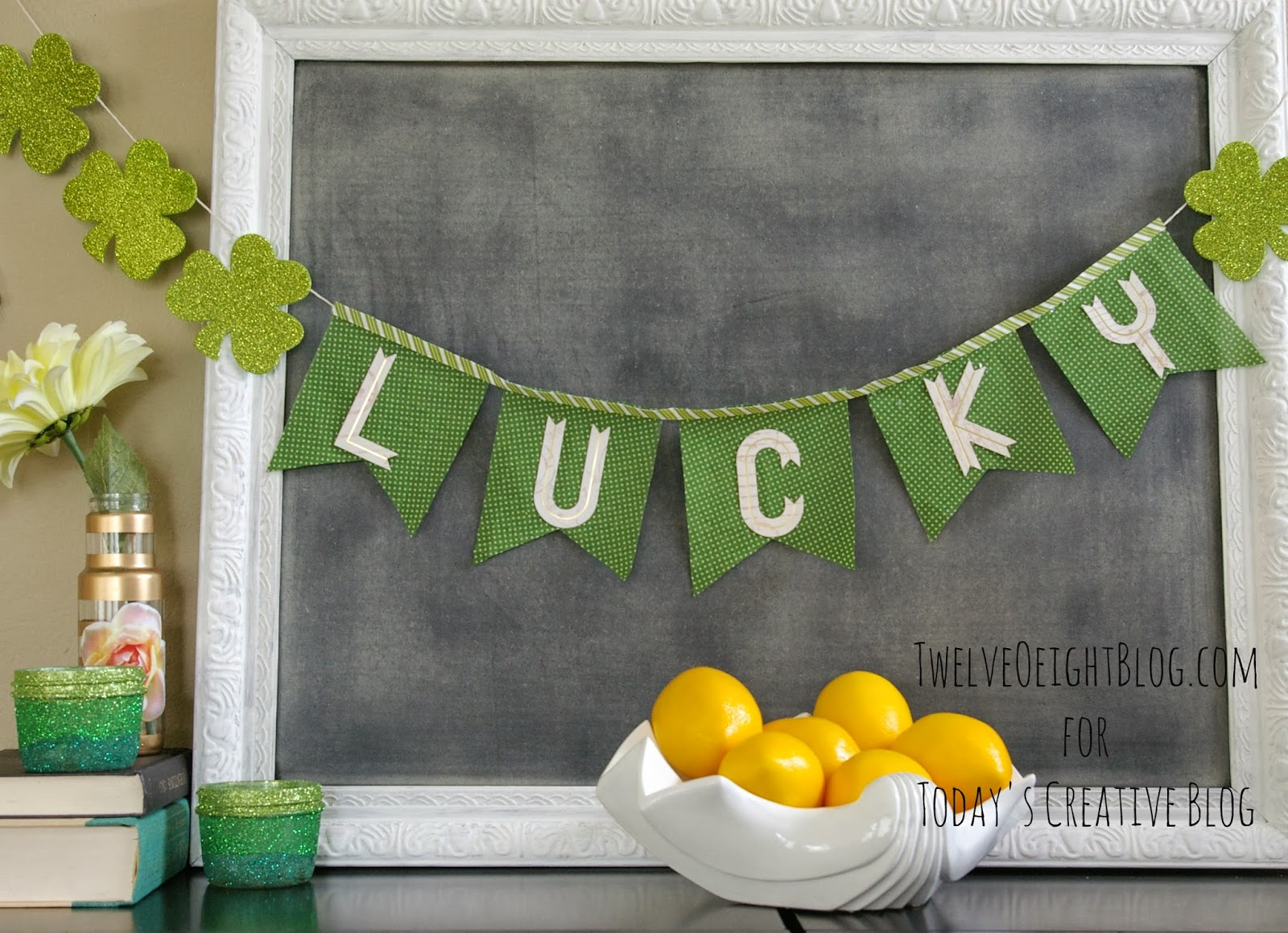 Glittered St. Patrick's Day Votives   TodaysCreativeBlog.net