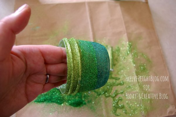 Ombre St. Patrick's Day Votives | St. Patrick's Day crafts and decorating with glitter. See more on Today's Creative Life