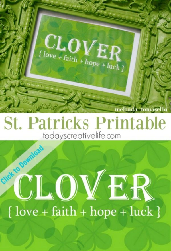 Free Clover Printable | Free printable St. Patrick's Day decoration. Frame it, use as a gift tag, bottle wrapper and more. Designed by Melinda Tomasello for TodaysCreativeLife.com