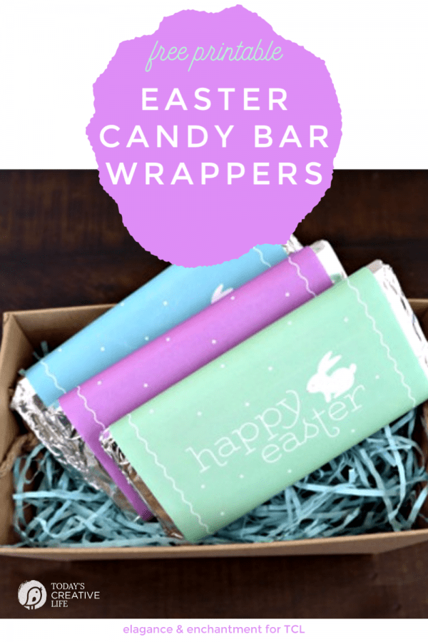 Photo collage of printable Easter Candy Bar Wrappers