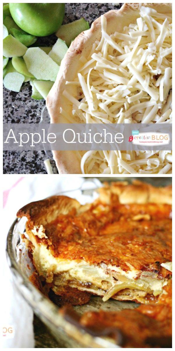Apple Quiche Recipe | Breakfast or Brunch Recipe | Easy to make quiche | Eggs, cream, apples, cheese and more | TodaysCreativeLife,com