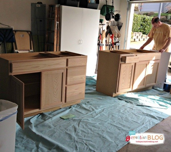 Unfinished Craft Room Cabinets | TodaysCreativeBlog.net