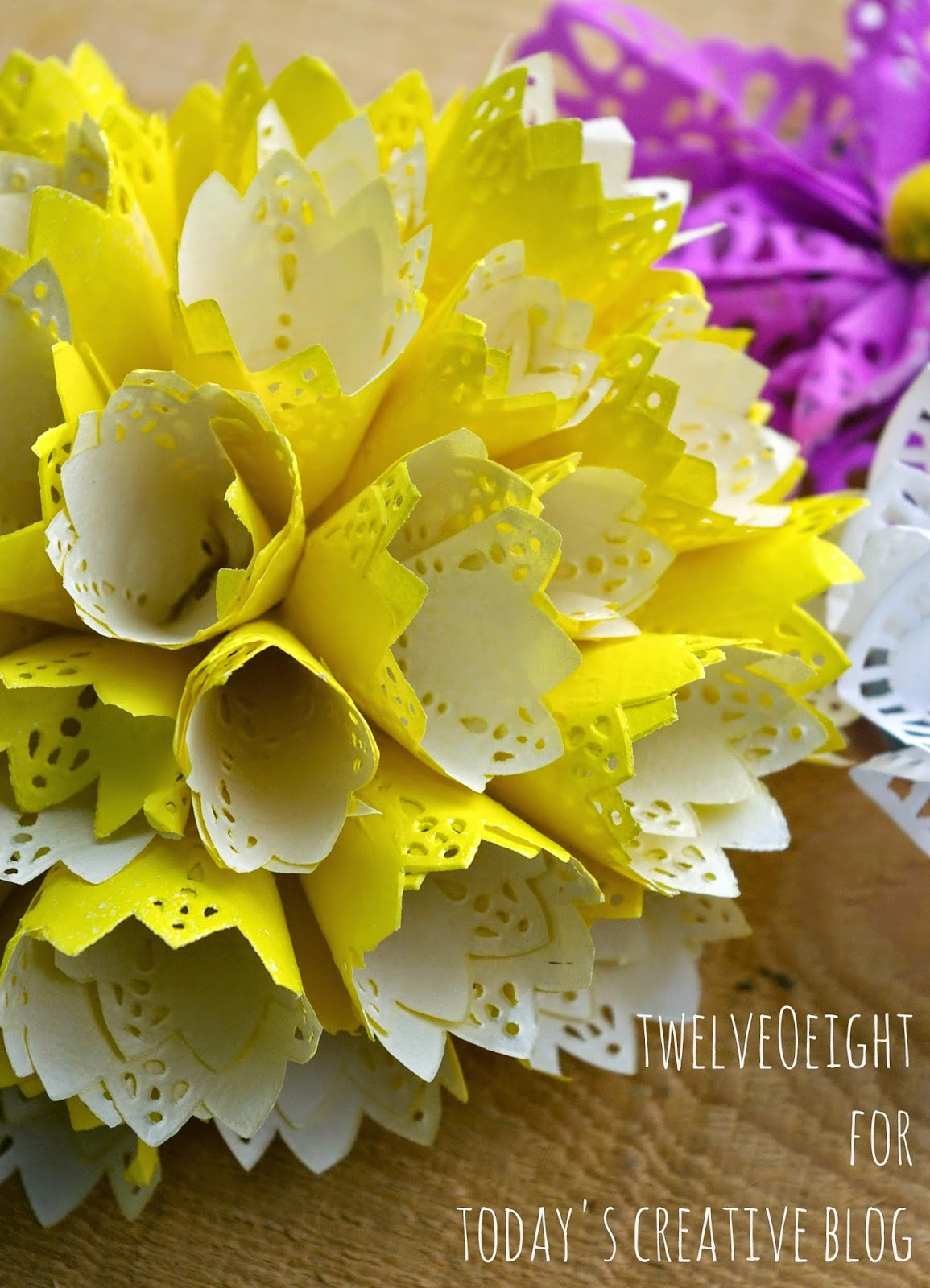 DIY Paper Doily Flowers | TodaysCreativeBlog.net