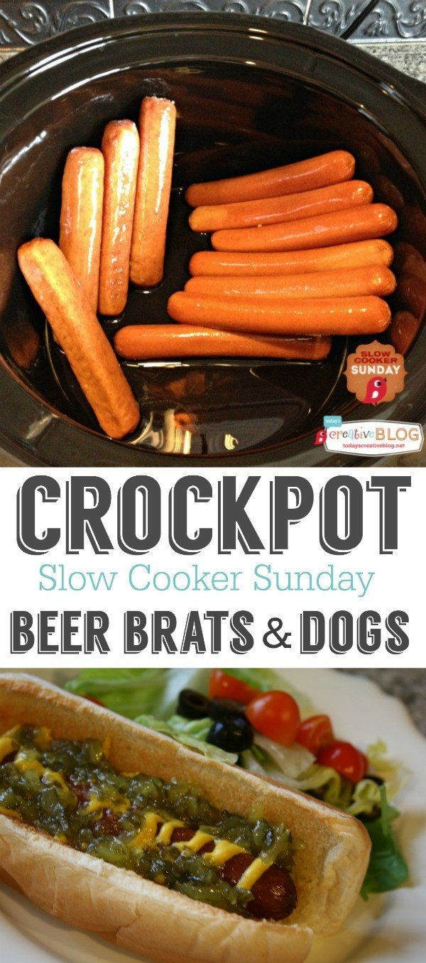 Crockpot Beer Brats and Dogs | How to cook hot dogs in a slow cooker