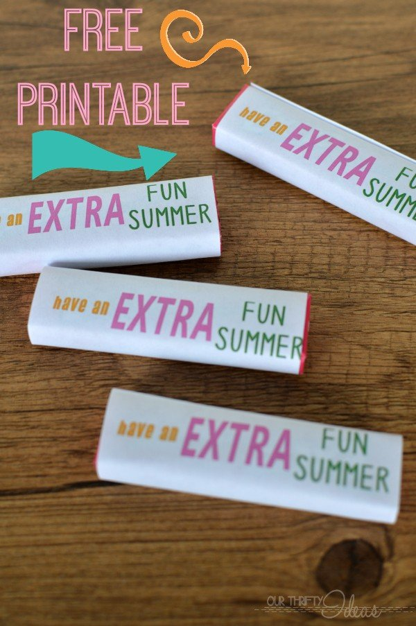 Printable Gum Wrappers | Free Printables for School | End of school gift ideas. Easy DIY kids party gifts for goodie bags | Guest post by Our Thrifty Ideas for TodaysCreativeLife.com