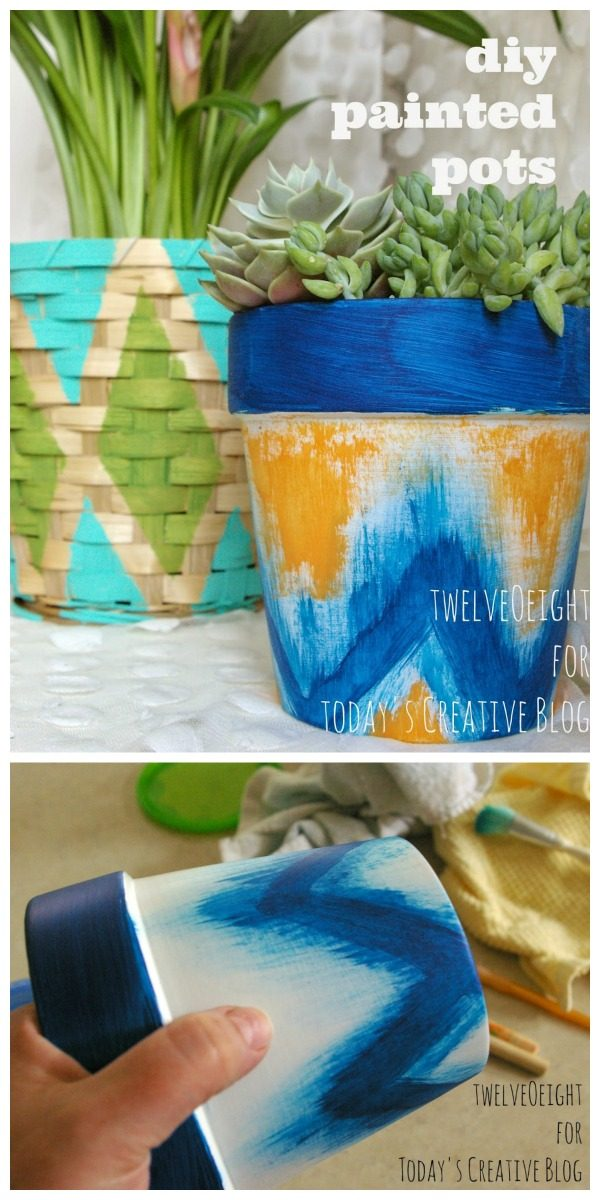 Painted Pots and Baskets | Painted Terra-cotta flower pots | Ikat style Tribal painted pots | Decorate your patio | DIY Craft Idea | Easy painting craft | TodaysCreativeLife.com