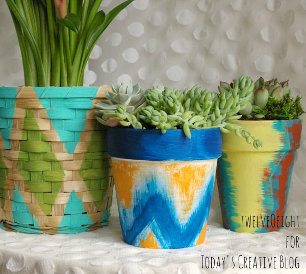 Painted Pots and Baskets | Painted Terra-cotta flower pots | Tribal painted pots | Decorate your patio | DIY Craft Idea | Easy painting craft | TodaysCreativeLife.com