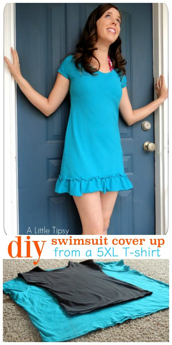 5XL T-Shirt to Swimsuit Cover-up | DIY sewing project for summer! See full tutorial on TodaysCreativeLife.com