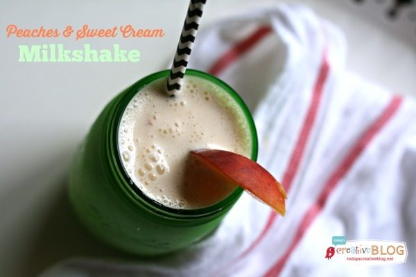 Peaches and Sweet Cream Milkshake with Coffee Creamer