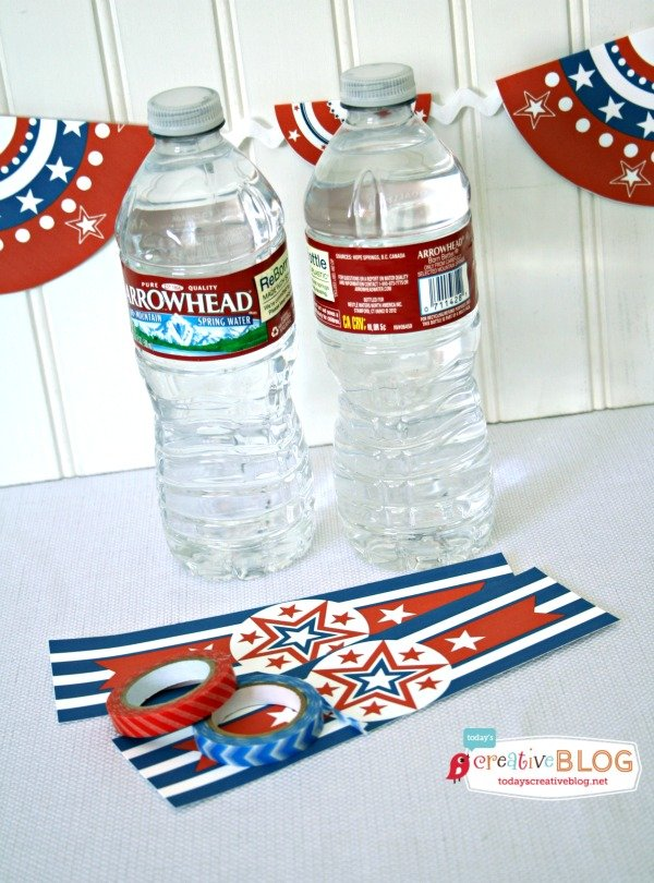 Printable Bottle Wrappers |Free Patriotic Printables | Red White and Blue, 4th of July, Fourth of the July Party Printables. Bottle Wrappers, Banners, Patriotic Door Decor | Click the photo for your free downloads. TodaysCreativeLife.com