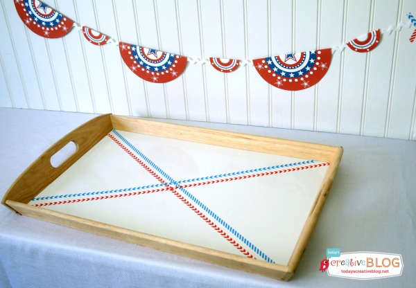 DIY Washi Tape Tray | Free Patriotic Printables | Red White and Blue, 4th of July, Fourth of the July Party Printables. Bottle Wrappers, Banners, Patriotic Door Decor | Click the photo for your free downloads. TodaysCreativeLife.com