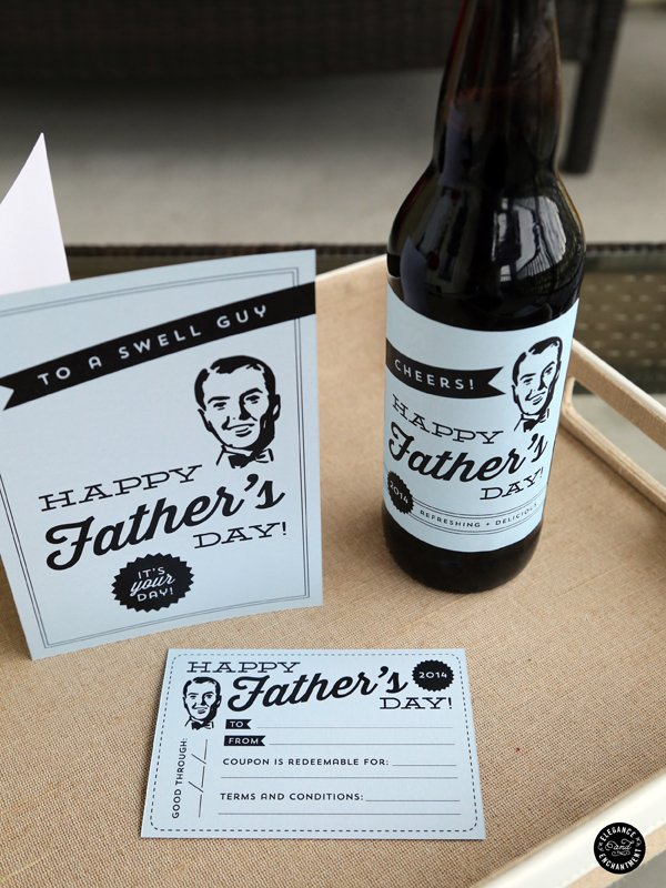Father's Day Printable Card | Free printable cards for Father's Day. This retro design with matching bottle labels makes dad's day special. TodaysCreativeLife.com