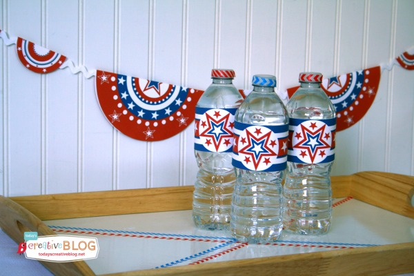Free Patriotic Printables |Free Patriotic Printables | Red White and Blue, 4th of July, Fourth of the July Party Printables. Bottle Wrappers, Banners, Patriotic Door Decor | Click the photo for your free downloads. TodaysCreativeLife.com