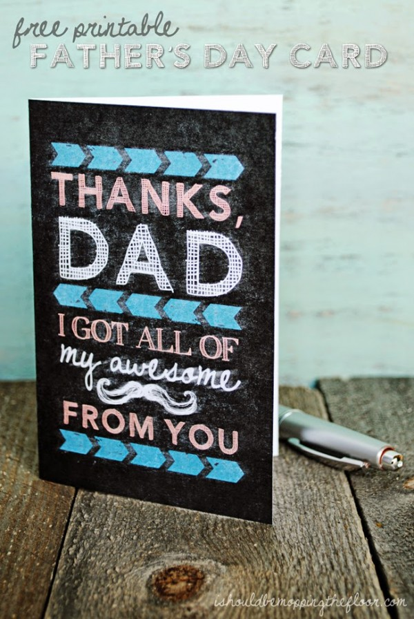 Father's Day Printable Card by IShouldBeMoppingTheFloor.com