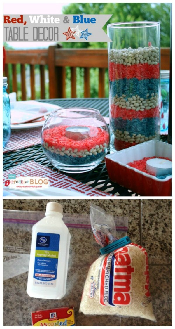 EASY Red, White & Blue Patriotic Decor | Make up quick and easy patriotic decorations for your holiday BBQ! See tutorial on TodaysCreativeLife.com