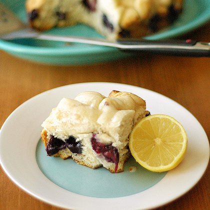 Crockpot Blueberry Breakfast Cake with Lemon Drizzle Icing