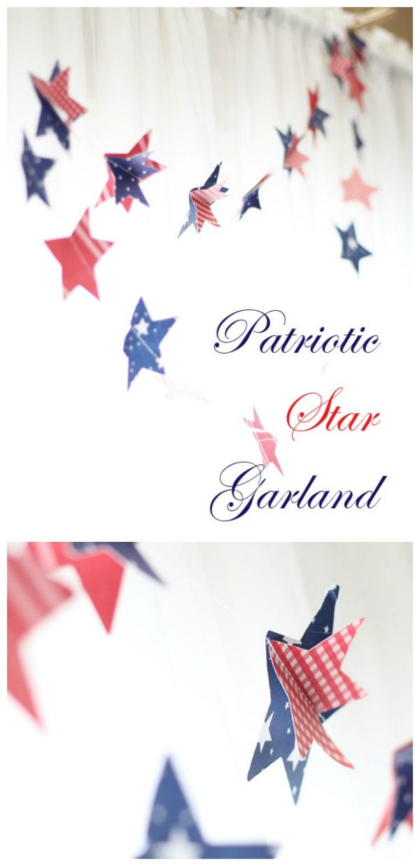 DIY Patriotic Paper Garland | Easy Sewing Craft | 4th of July decorations | Red White and Blue Ideas | Fourth of July Party Planning and Decor | Cricut Explore Crafts | LaurasCraftyLife.com for TodaysCreativeLife.com