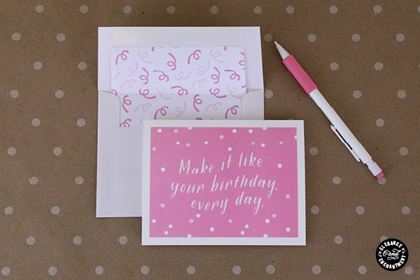 Printable Birthday Cards with Envelope Liner Elegance and Enchantment | TodaysCreativeBlog.net
