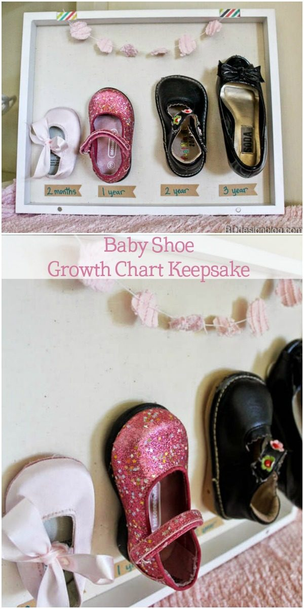 Baby Shoe Growth Chart | baby keepsake | memory keeping | diy growth chart | TodaysCreativeLife.com