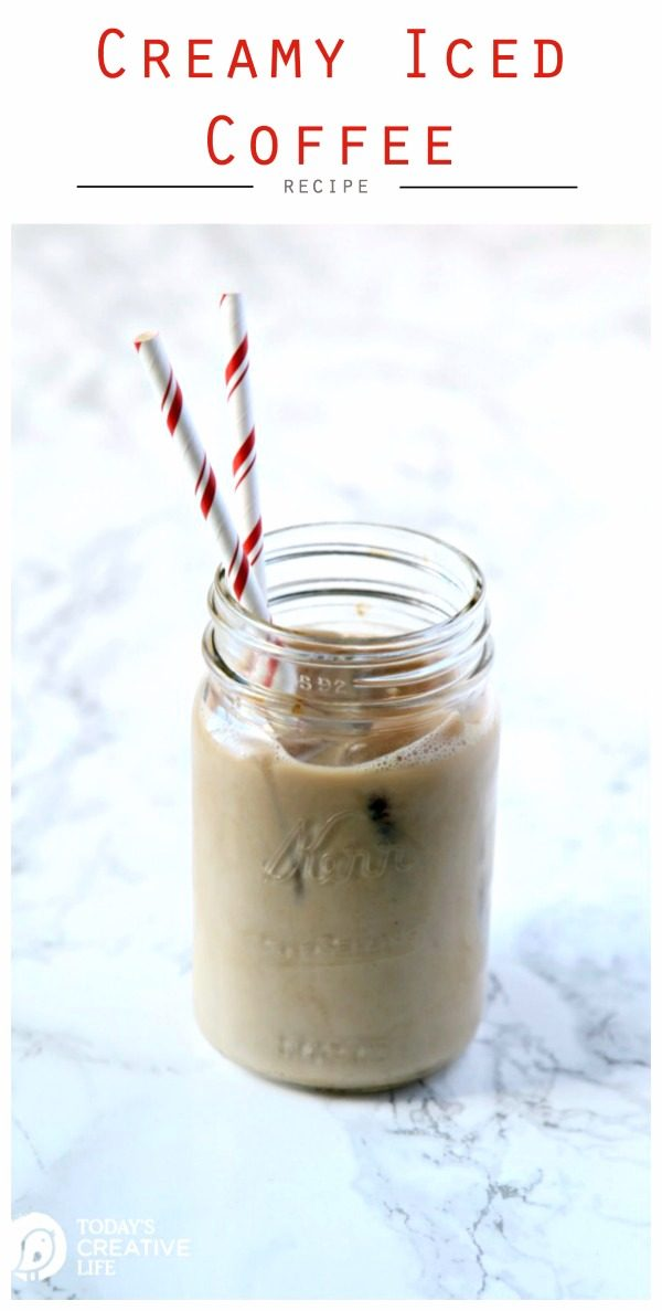 Creamy Ice Coffee Recipe | Using Coffee iced cubed and creamer makes delicious iced coffee. Easy Recipe. TodaysCreativeLife.com