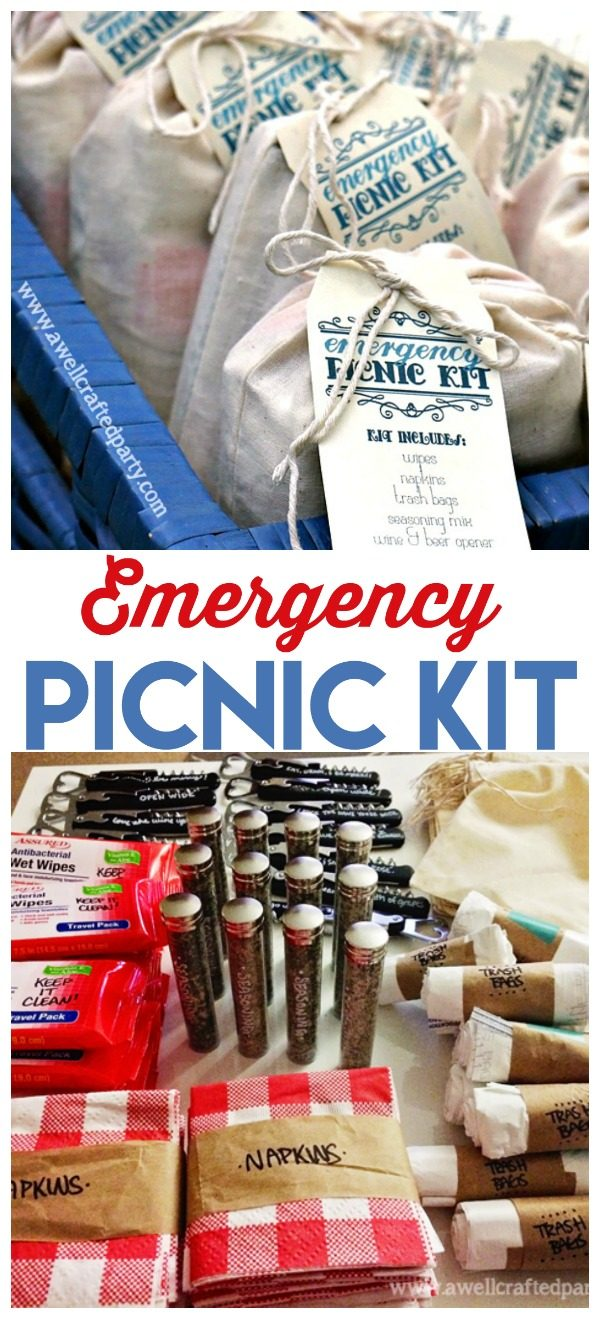 DIY Emergency Picnic Kit | Be ready for summer fun at a moments notice. Free printable tag for diy gift making. See more on todayscreativelife.com