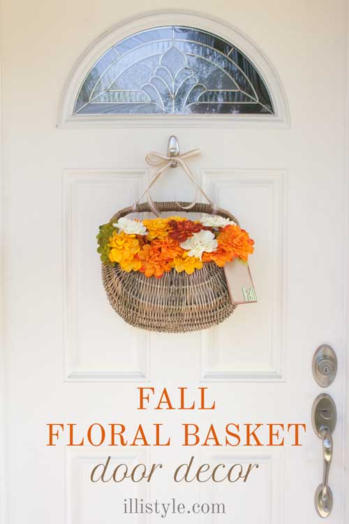 DIY Fall Floral Basket Door Decor | TodaysCreativeBlog.net