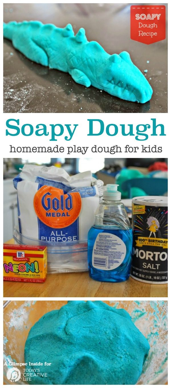 Soapy Dough Play Dough Recipe | This fun kids craft is fun to make and fun to play with. Find the recipe for this homemade play dough on Today's Creative Life