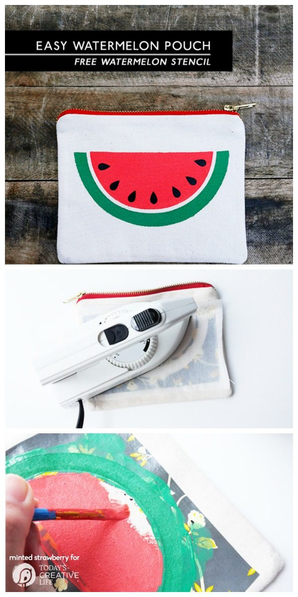 DIY Easy Watermelon Slice Pouch free stencil | This adorable pouch can be made with your Cricut or my hand. Use the provided free stencil to make easy diy gifts, or something for yourself. Minted Strawberry for TodaysCreativeLife.com