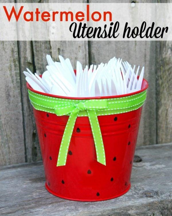 Watermelon Utensil Holder | TodaysCreativeBlog.net