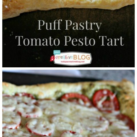 Puff Pastry Tomato Pesto Tart | Easy appetizer is your perfect finger party food. Quick to make, bursting full of flavor. Click the photo for the recipe from TodaysCreativeLife.com