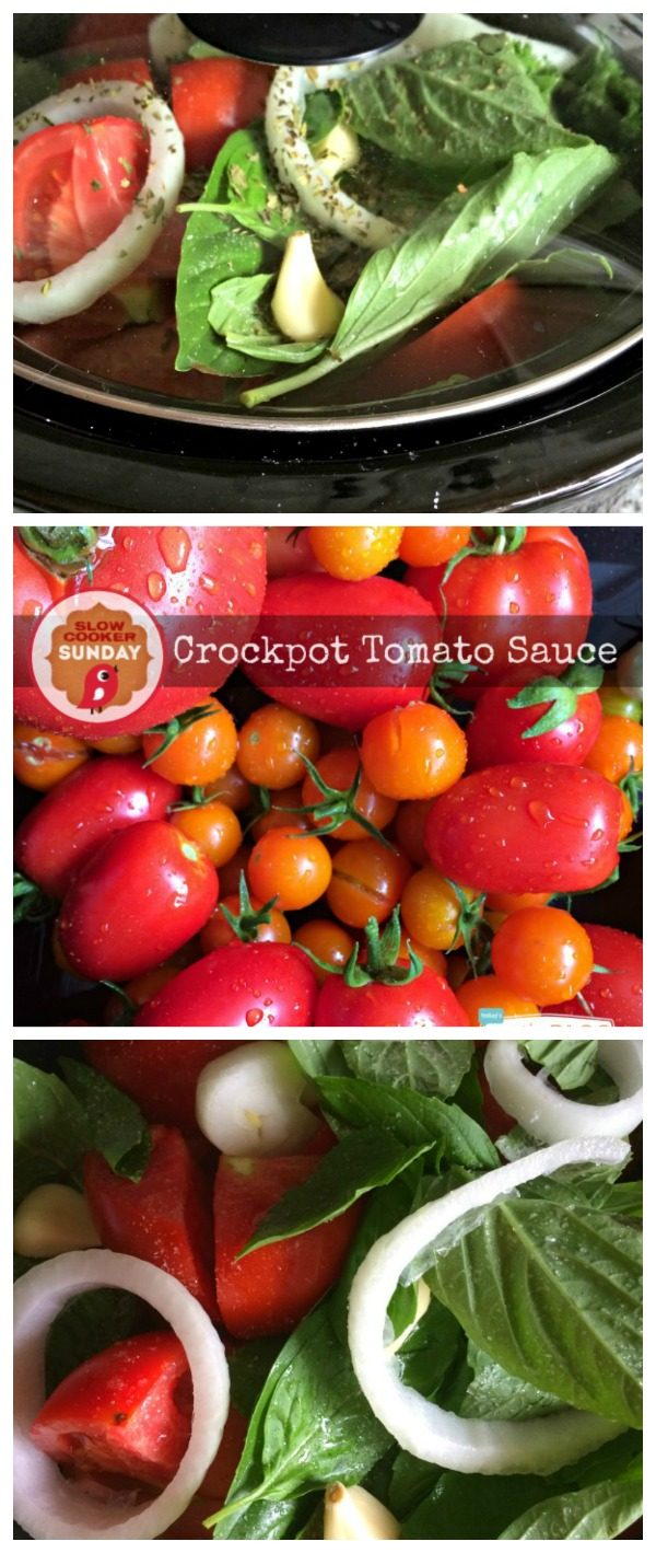 Crockpot Tomato Sauce | Making your tomato sauce in your slow cooker brings out all the flavors! Easy to make! Freeze or can. Click the photo for the recipe!