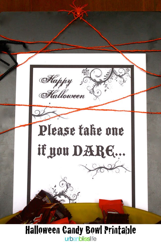 picture relating to Please Take One Sign Printable identify Free of charge Halloween Printable - Choose A single If By yourself Dare!