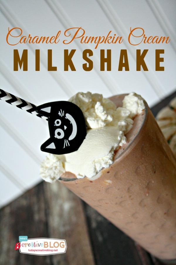 Caramel Pumpkin Cream Milkshake | TodaysCreativeBlog.net